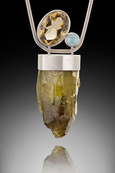 raw stone jewelry design and care - idocrase pendant