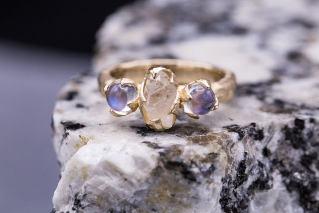 raw stone jewelry design and care - raw quartz and rainbow moonstone