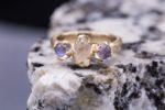 raw stone jewelry design and care - raw quartz and rainbow moonstone
