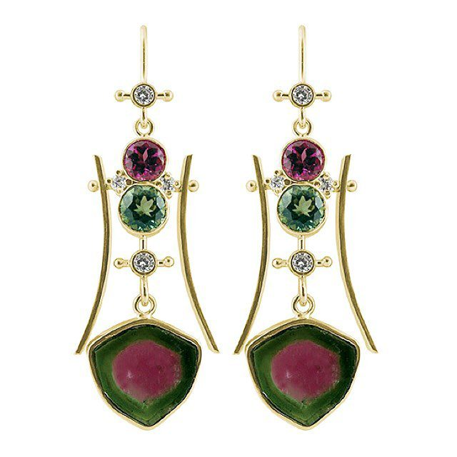 raw stone jewelry design and care - watermelon tourmaline earrings
