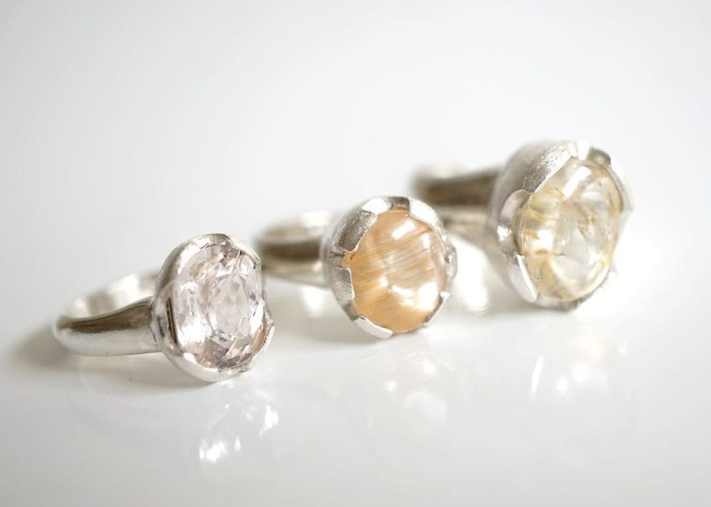 rutilated quartz buying guide - three rutilated quartz rings