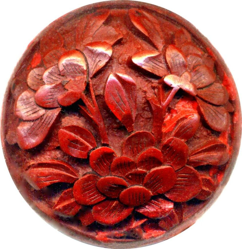 unique gem materials for jewelry design - cinnabar button