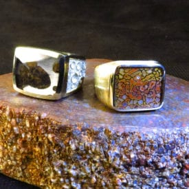 unique gem materials for jewelry design - gembone and meteorite rings