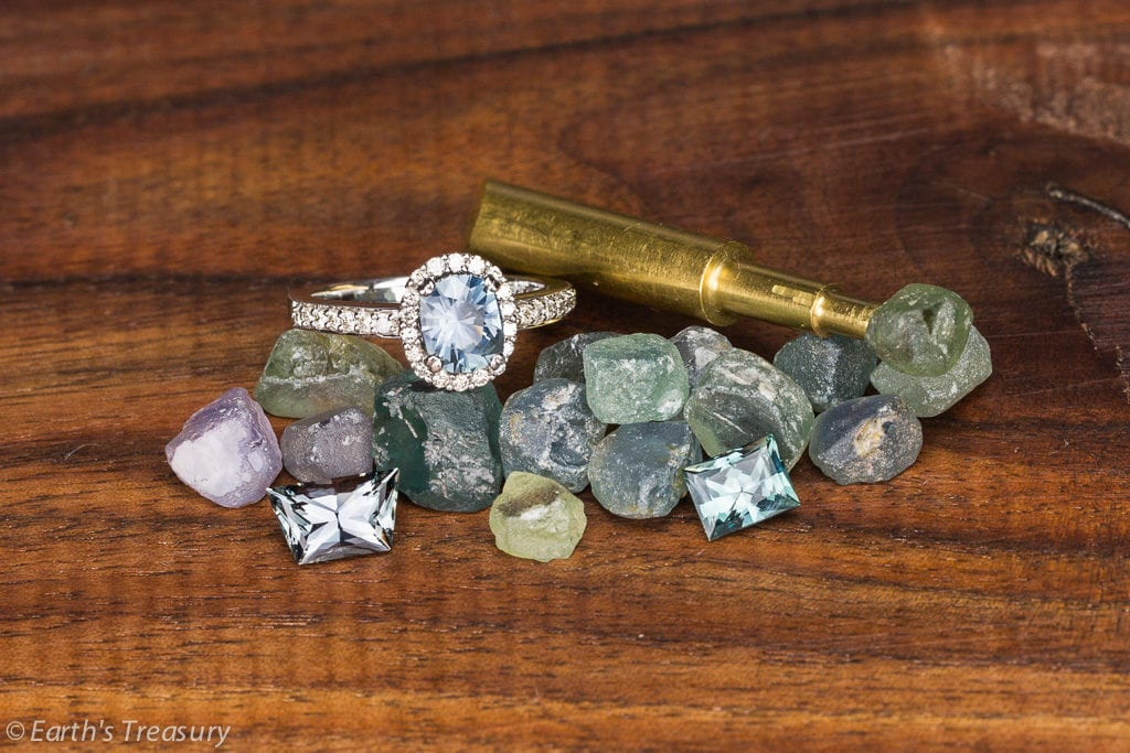 Montana sapphires and yogo sapphires - rough cut and set