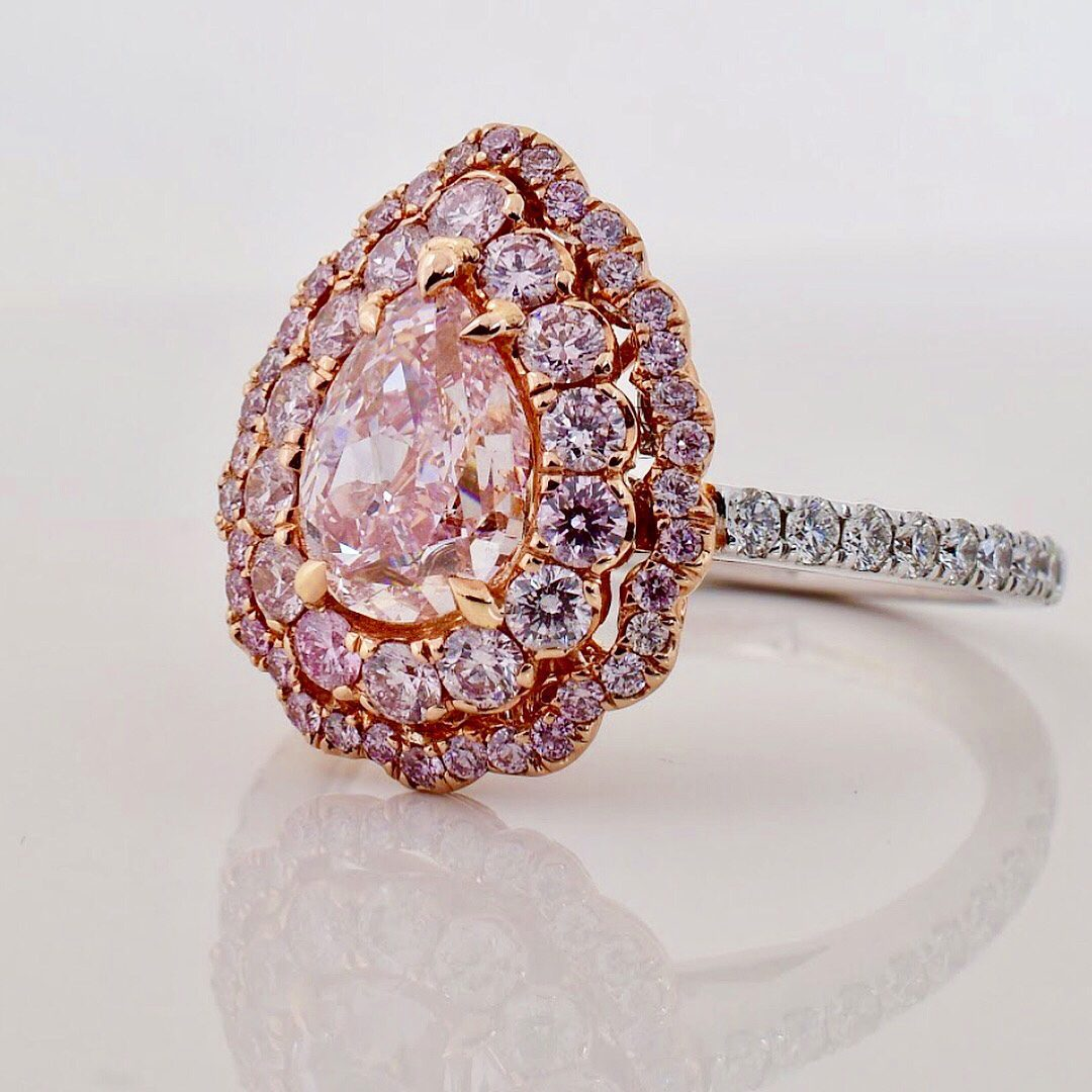 diamond uneek hazy shaped ring fancy raymond pink lee jewelers disclosure pear