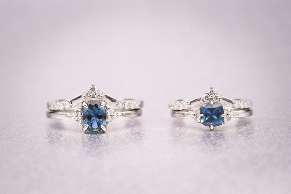 montana sapphires and yogo sapphires - matching rings