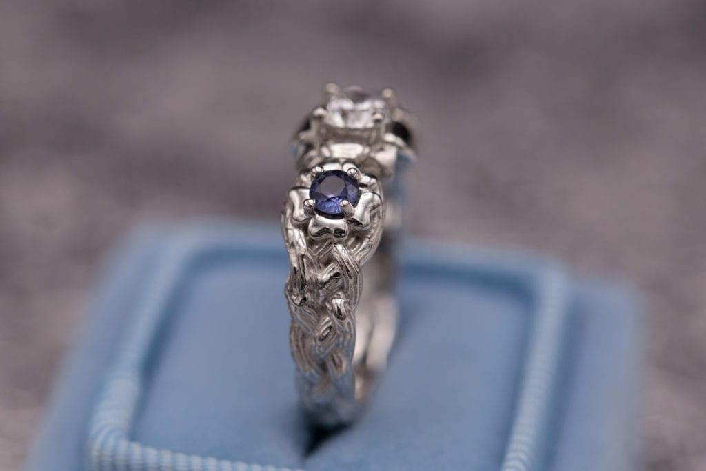 montana sapphires and yogo sapphires - diamond and yogo sapphire ring