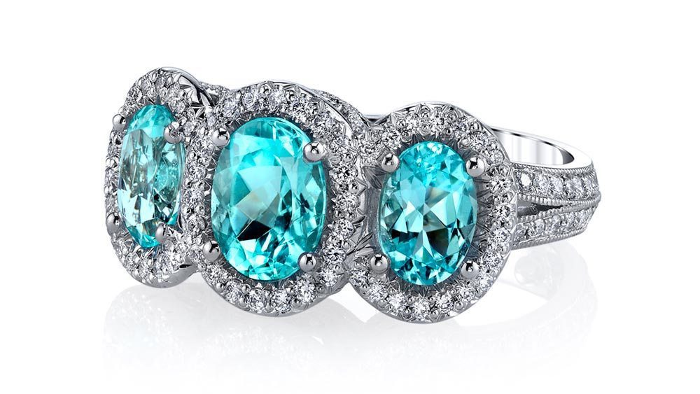 ten gemstones rarer than diamond - paraiba 3 stone ring