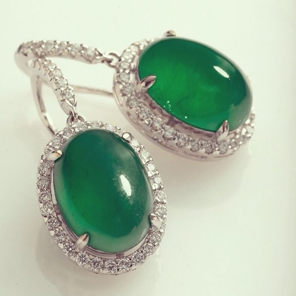 ten gemstones rarer than diamond - La Putri Jade and Diamond Earrings