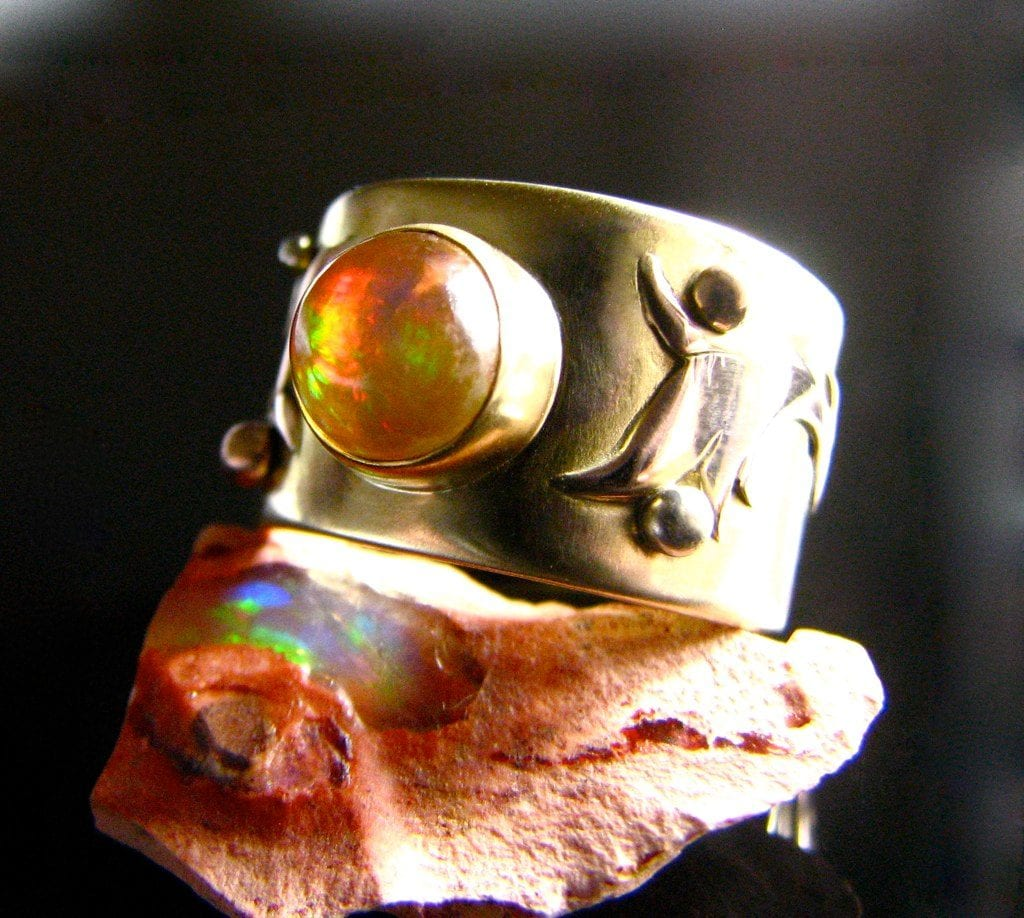 yellow gemstones - fire opal ring