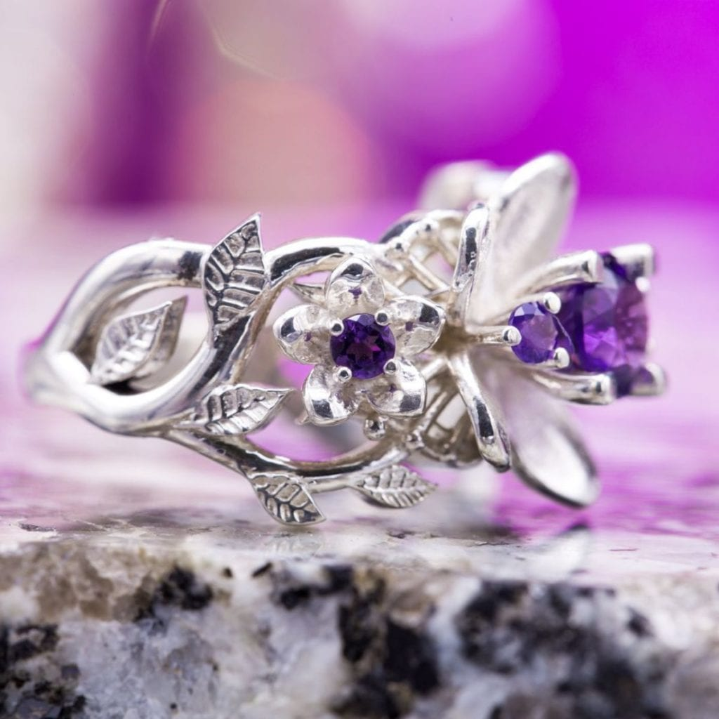 amethyst ring with floral motif