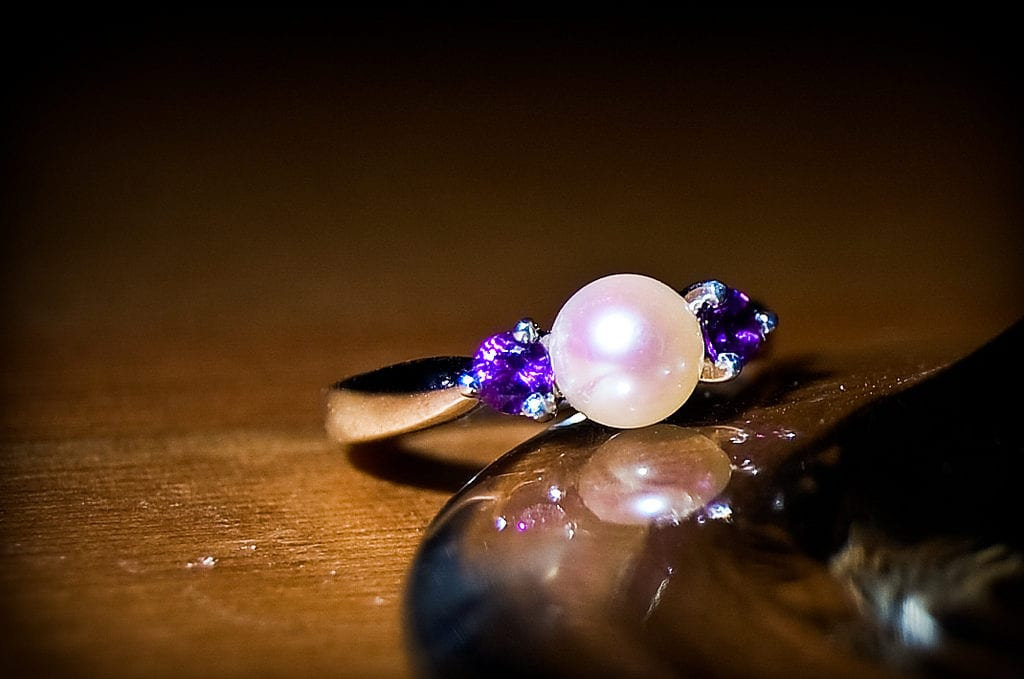 pearl and amethyst engagement ring