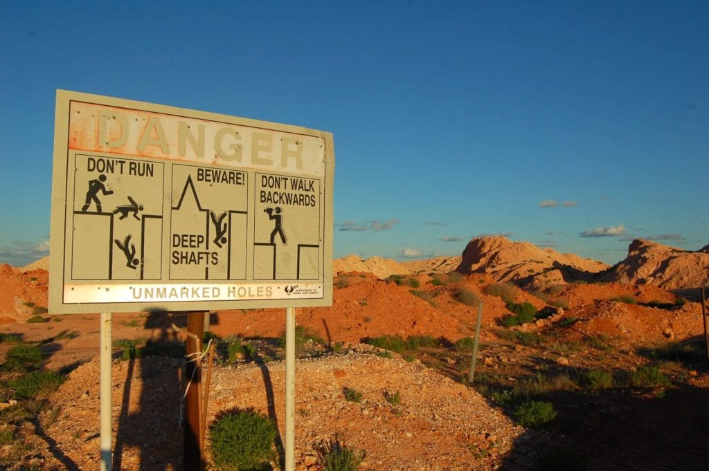 Coober Pedy - warning sign