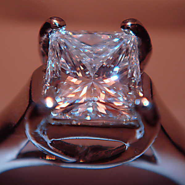 fancy gem cuts - close-up princess-cut diamond