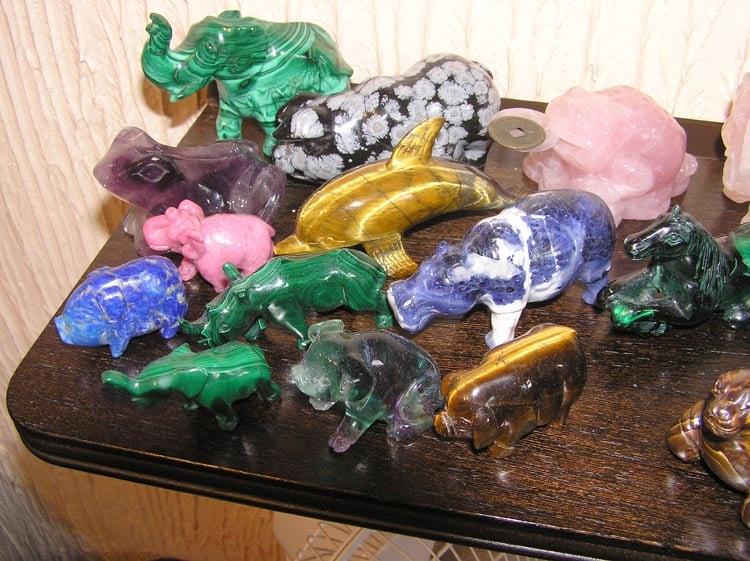 lapidary arts - gem animal carvings