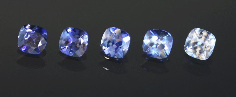 fancy gem cuts - cushion-cut benitoites