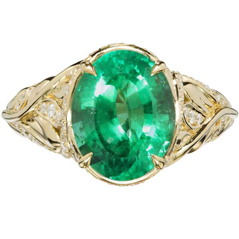classic engagement emerald gemstone three stone ring pttczz triangle diamond platinum in