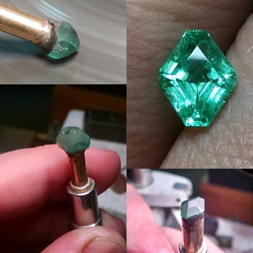 faceting process - Ethiopian emeralds