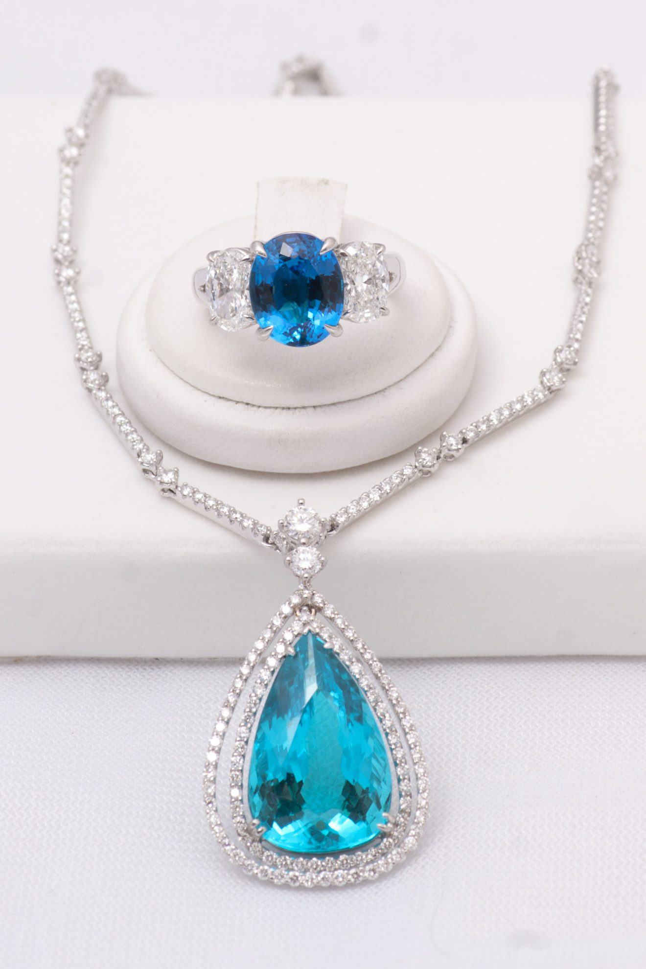 blue gemstones - paraiba ring and necklace