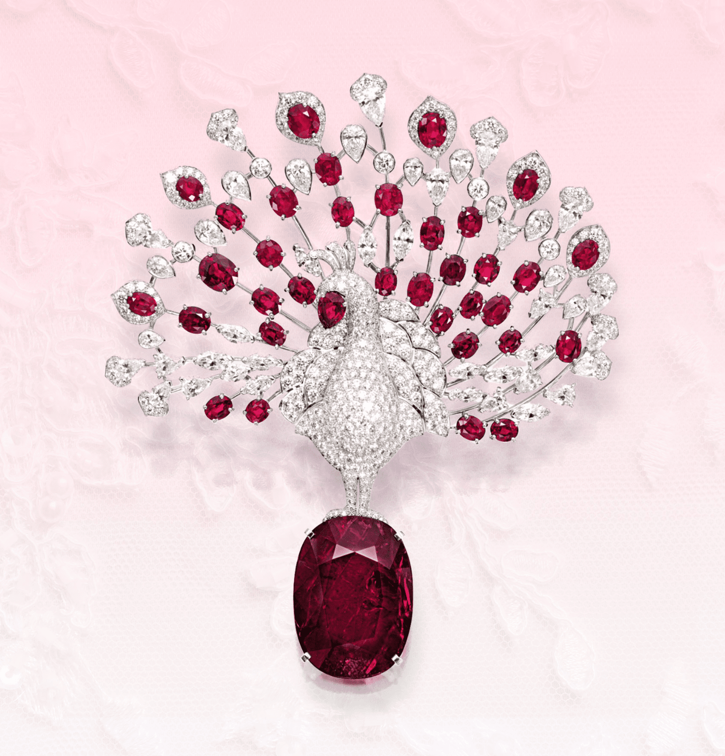 Cartier Peacock brooch with Mozambique rubies
