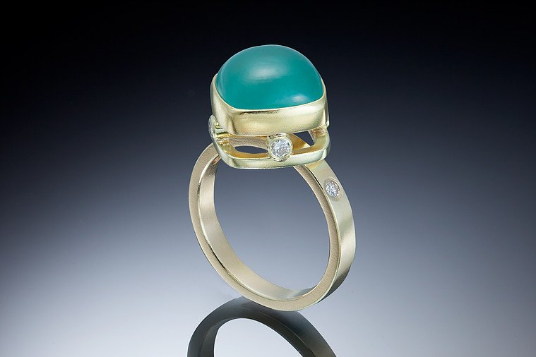 blue gemstones - aquaprase and diamond ring