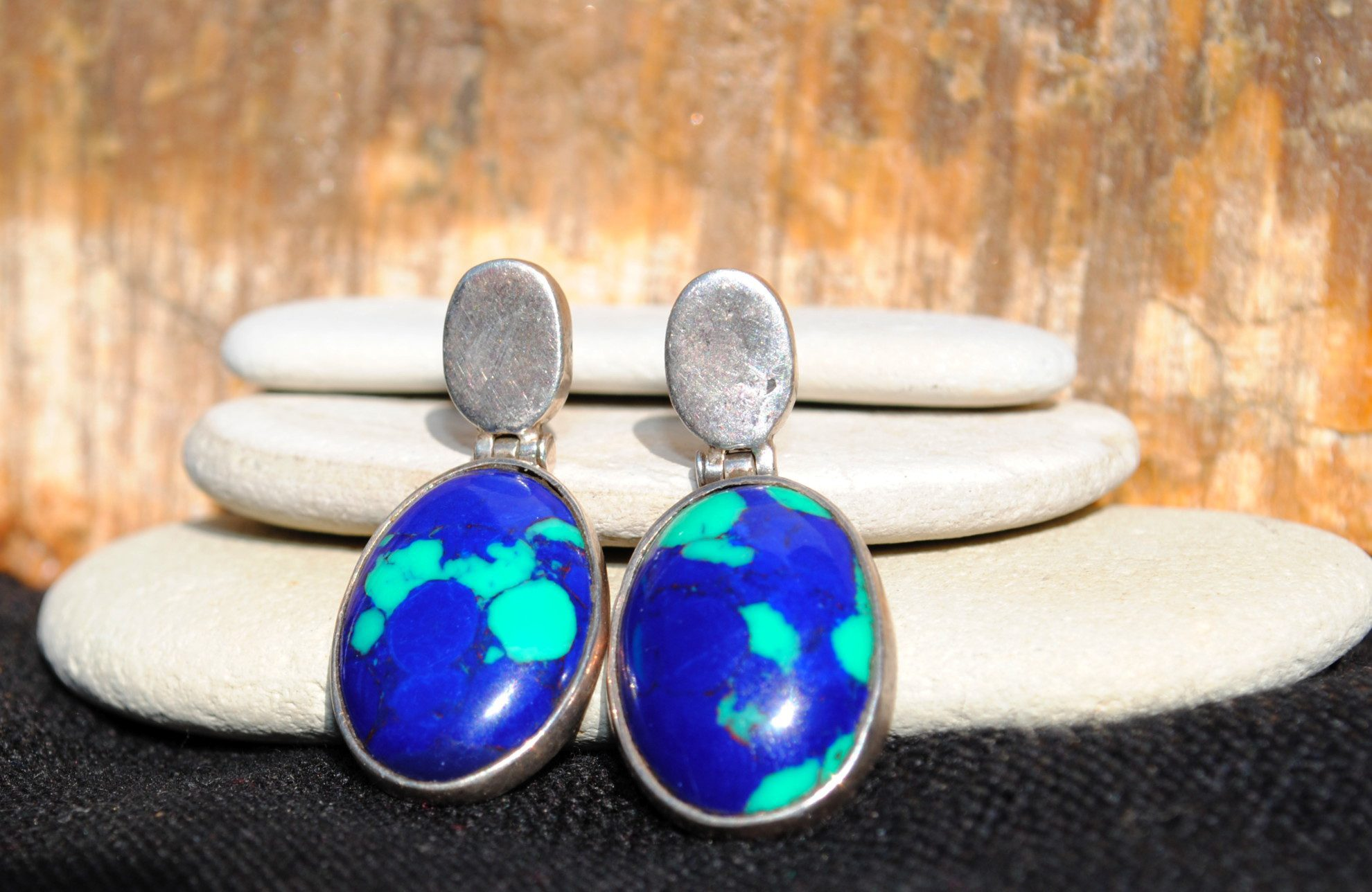 blue gemstones - azurite earrings