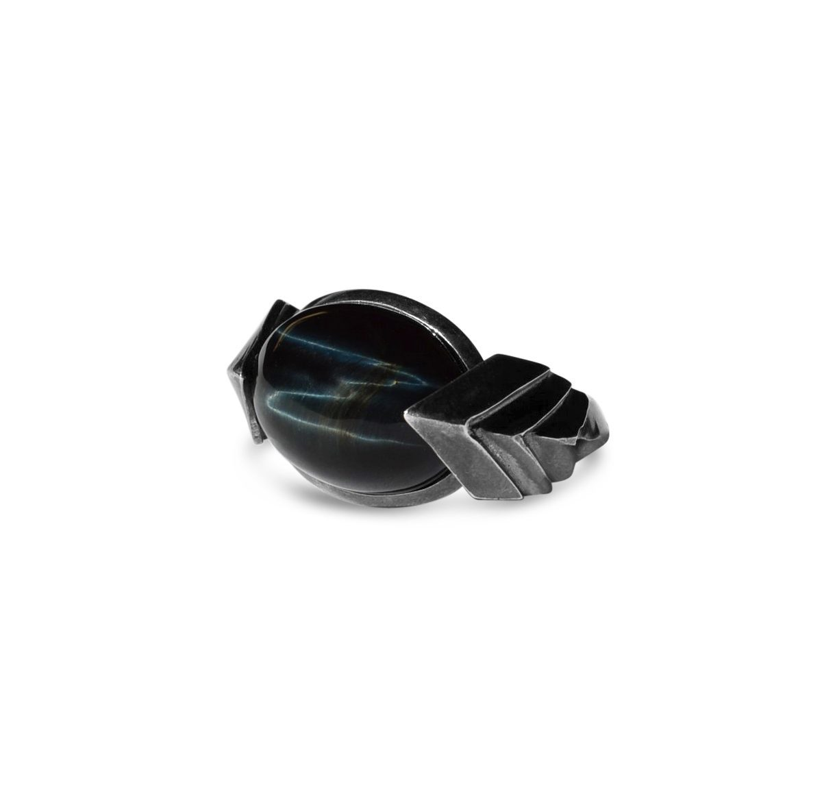 blue gemstones - hawk's eye cabochon ring