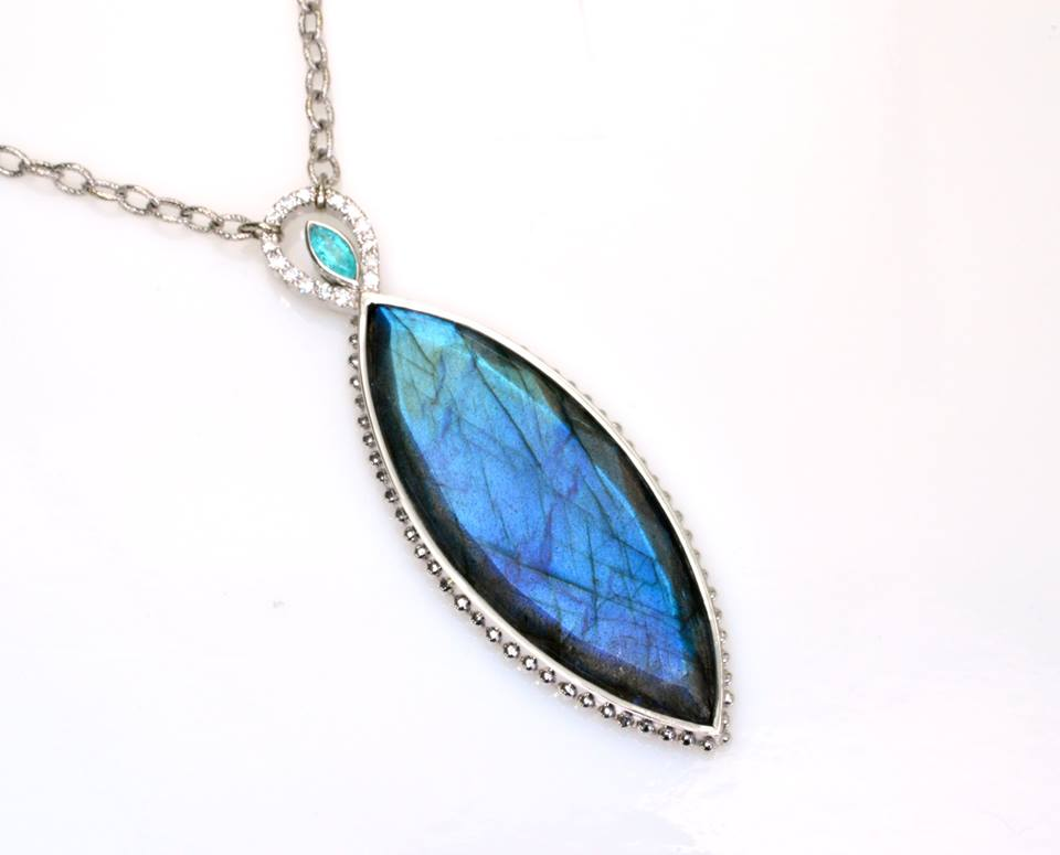 blue gemstones - labradorite and paraiba necklace
