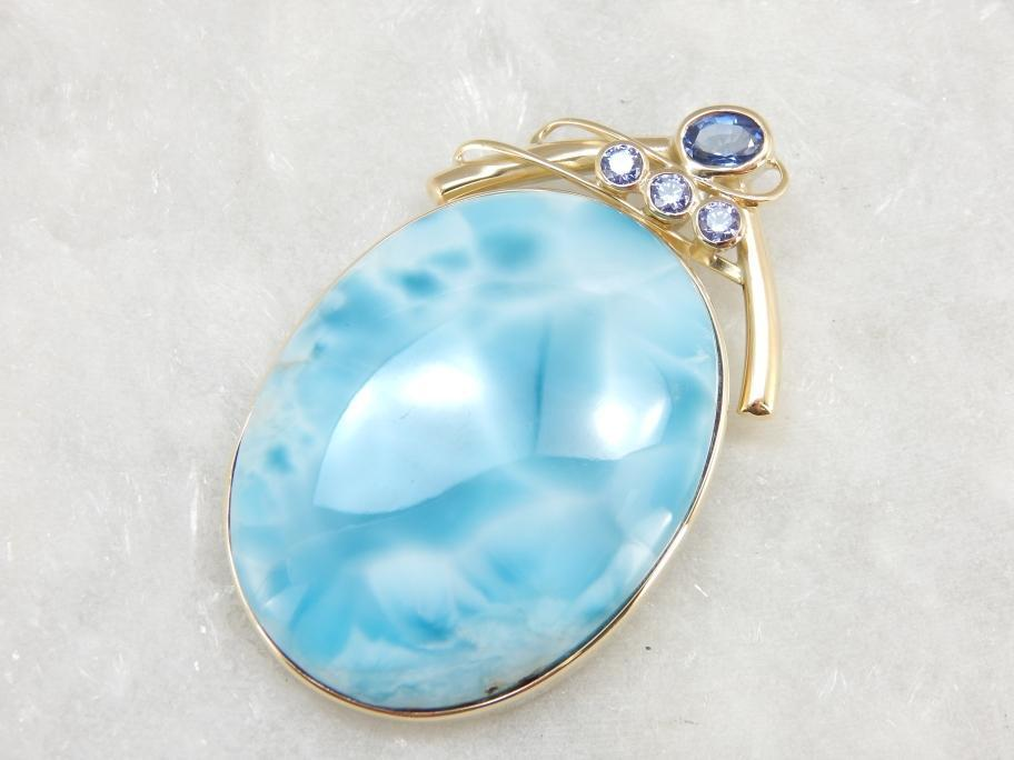 blue gemstones - larimar and tanzanite pendant