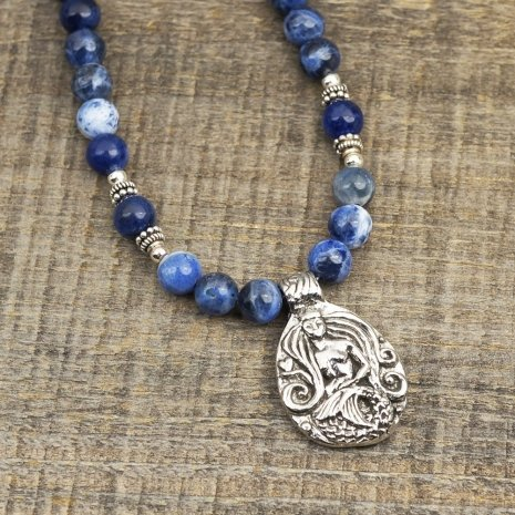 blue gemstones - mermaid necklace sodalite beads