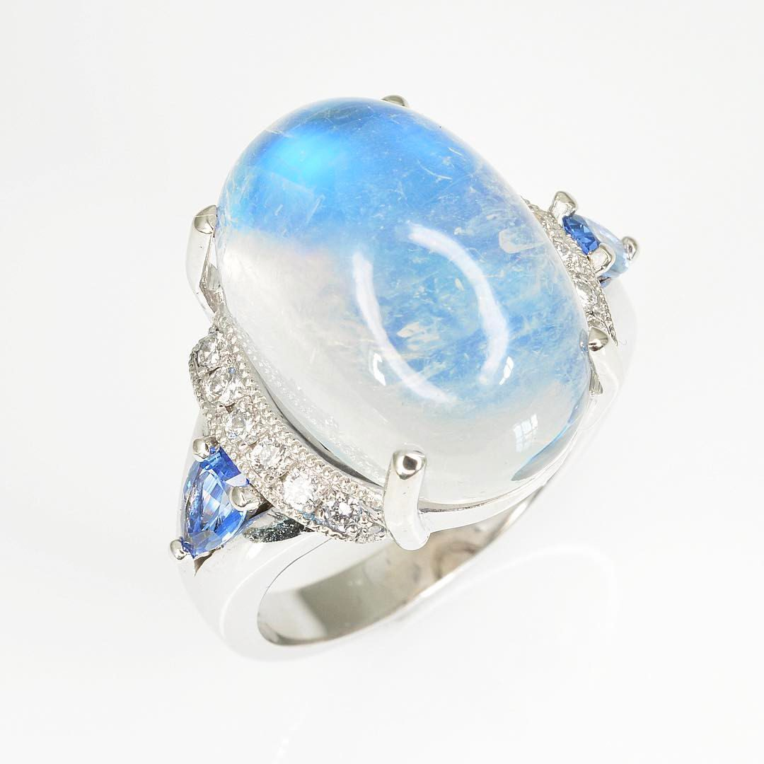 blue gemstones - moonstone ring