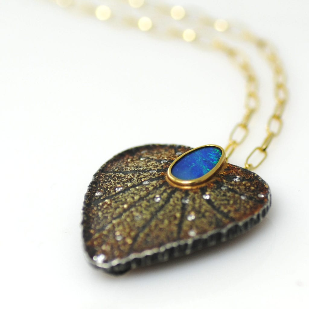 blue gemstones - opal pendant