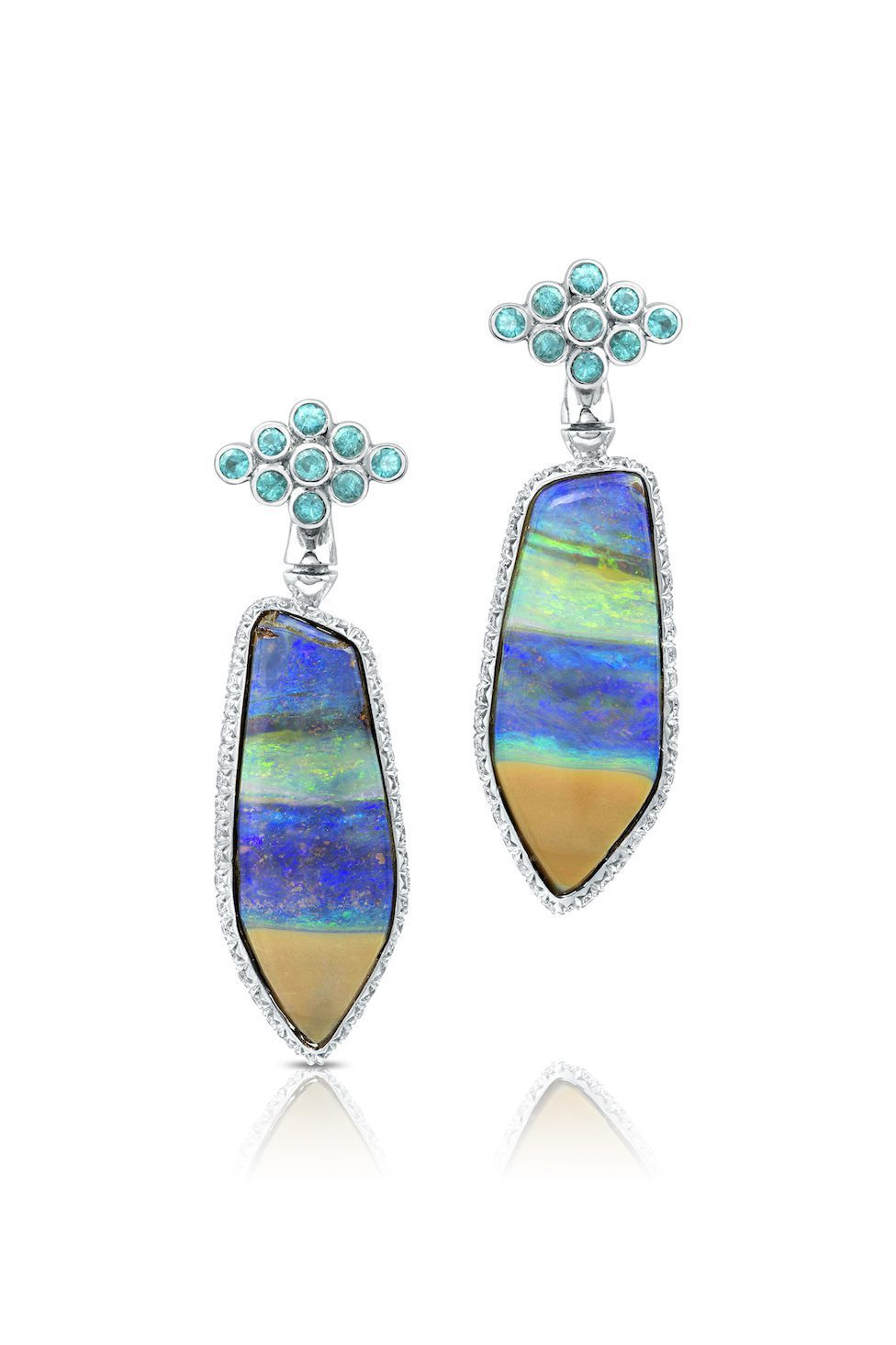 gem trends - reversible opal earrings, front