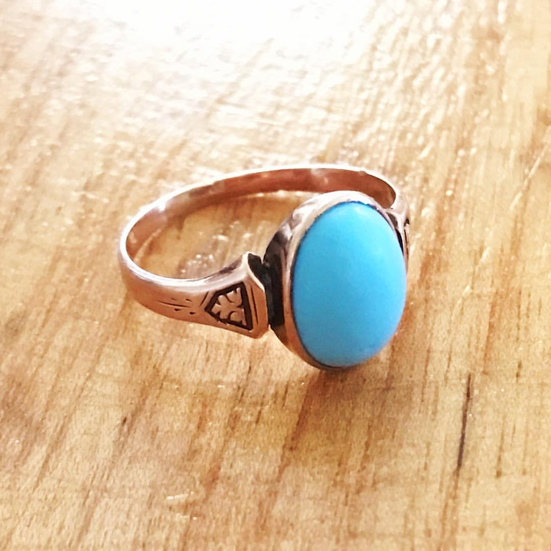 blue gemstones - antique turquoise ring