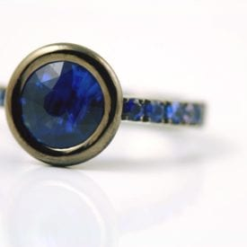 blue gemstones - unheated royal blue sapphire in rhodium and white gold