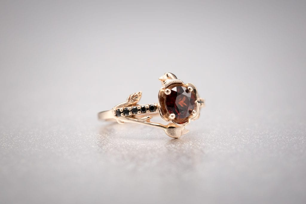 rose gold and garnet ring - garnet engagement ring stones