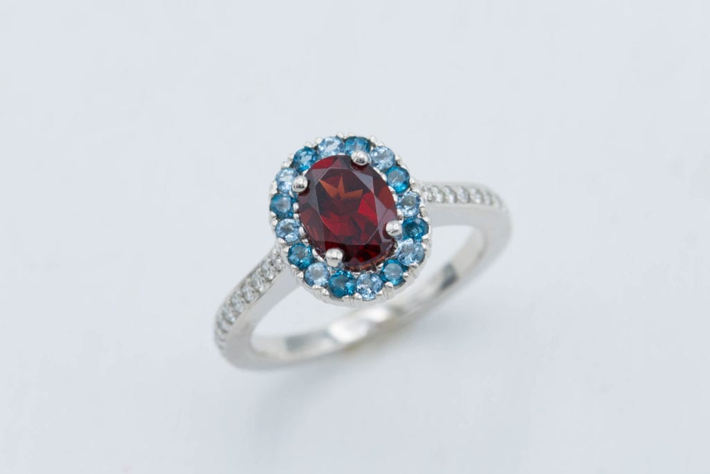 Mozambique garnet ring - garnet engagement ring stones