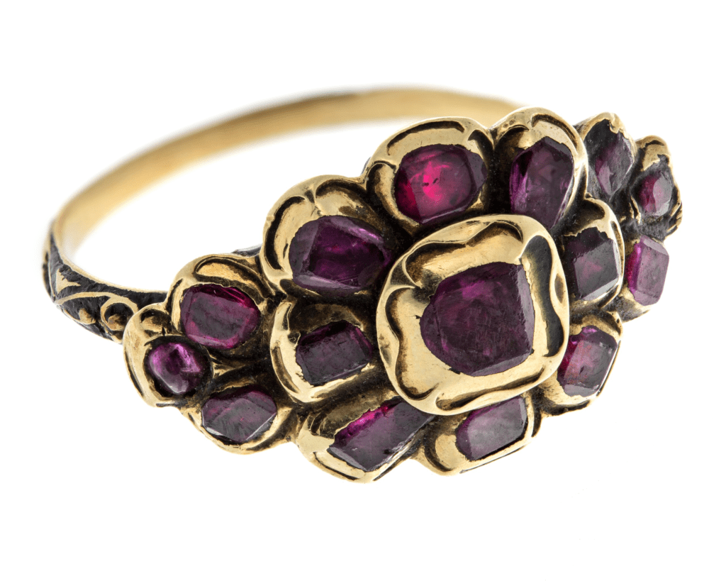 floral motif almandine ring - garnet engagement ring stones