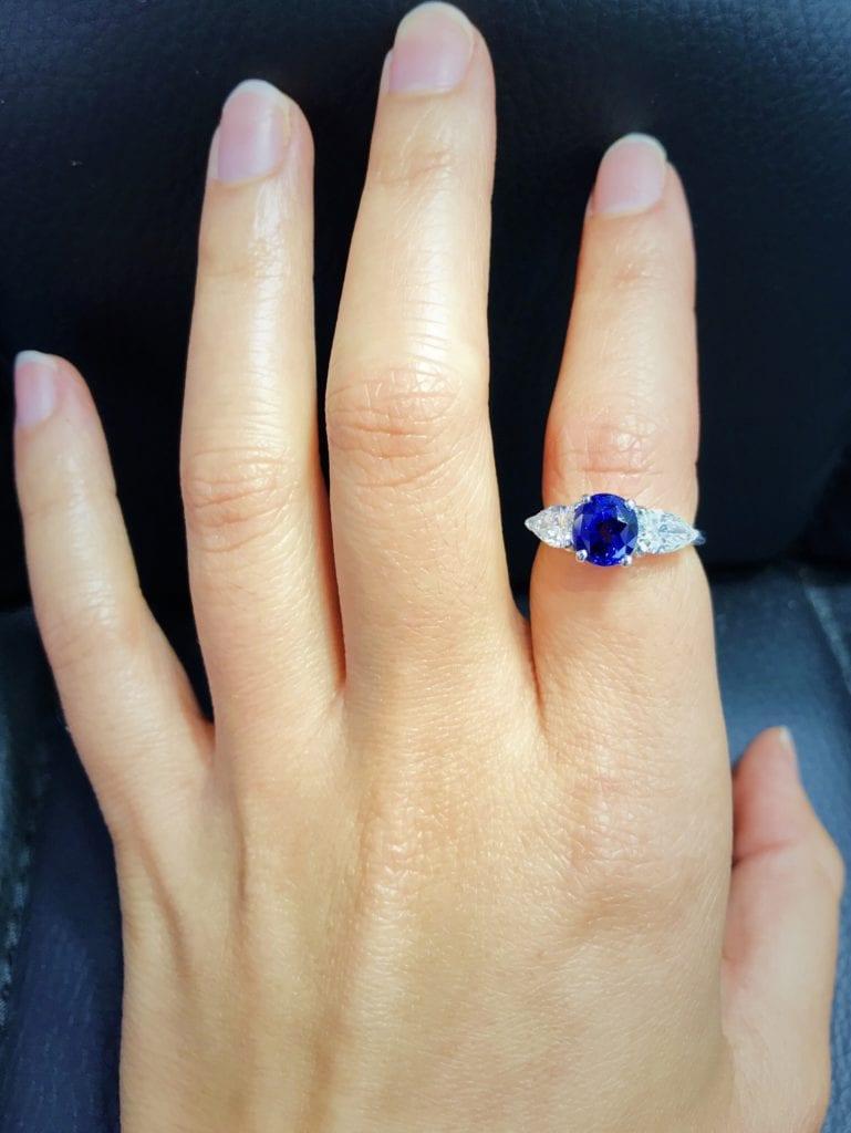 Ceylon sapphire ring - sapphire engagement ring stones