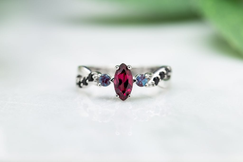 rhodolite ring - garnet engagement ring stones
