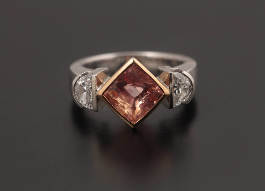 padparadscha sapphire buying guide - 3.03ct stone mixed metal ring