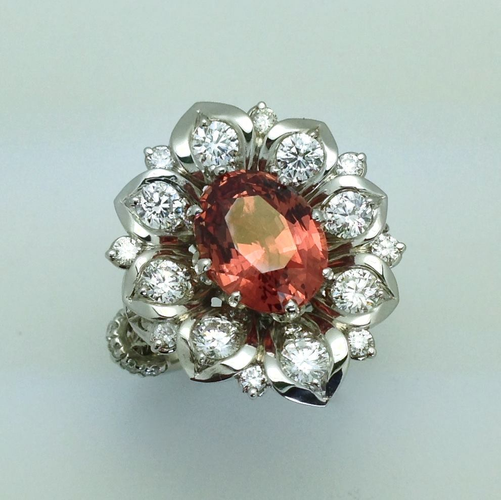 padparadscha sapphire buying guide - lotus ring