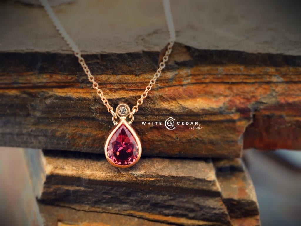 malaya garnet buying guide - rose gold necklace with malaya garnet and diamond