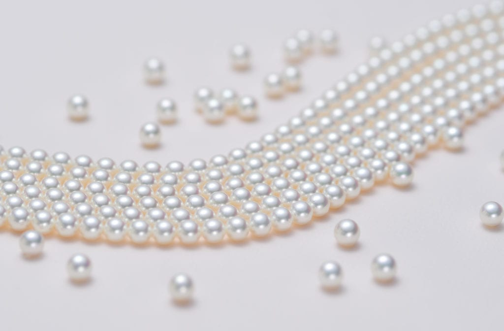Akoya pearls with pink overtones - pearl engagement ring stones