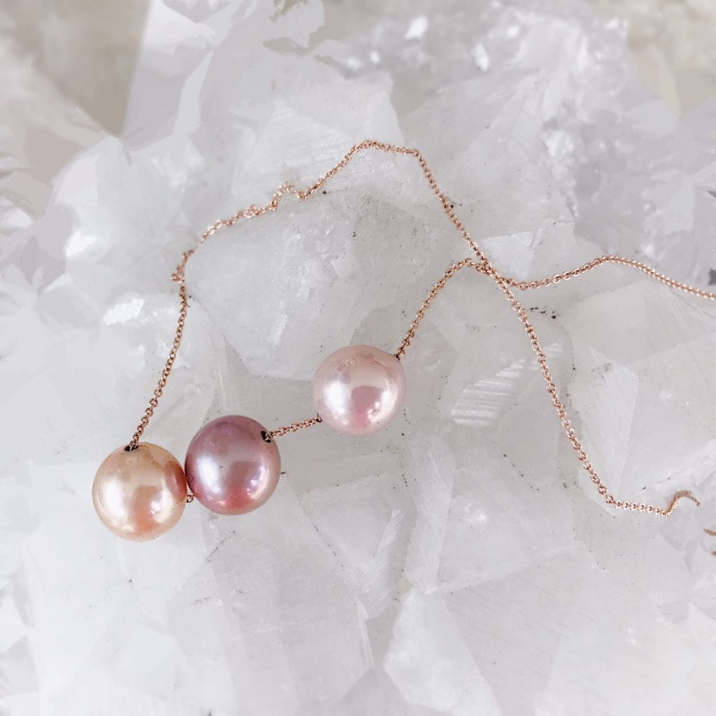 peach, pink, and white pearls - pearl engagement ring stones