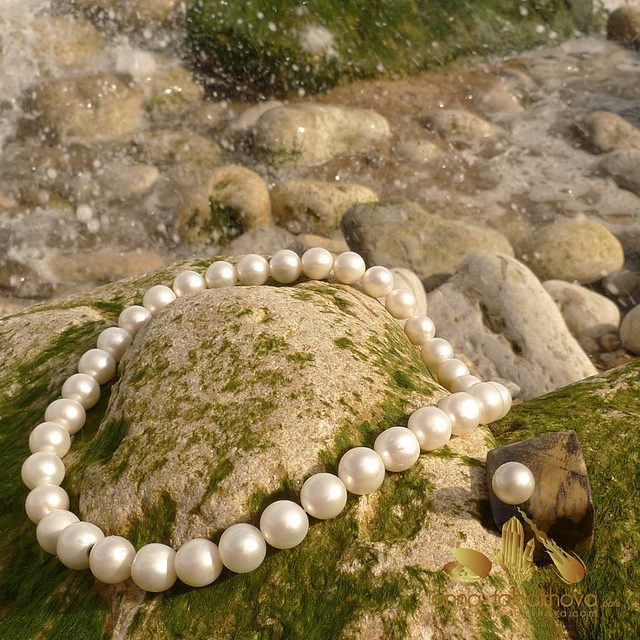 cultured freshwater pearl necklace and ring - pearl engagement ring stones