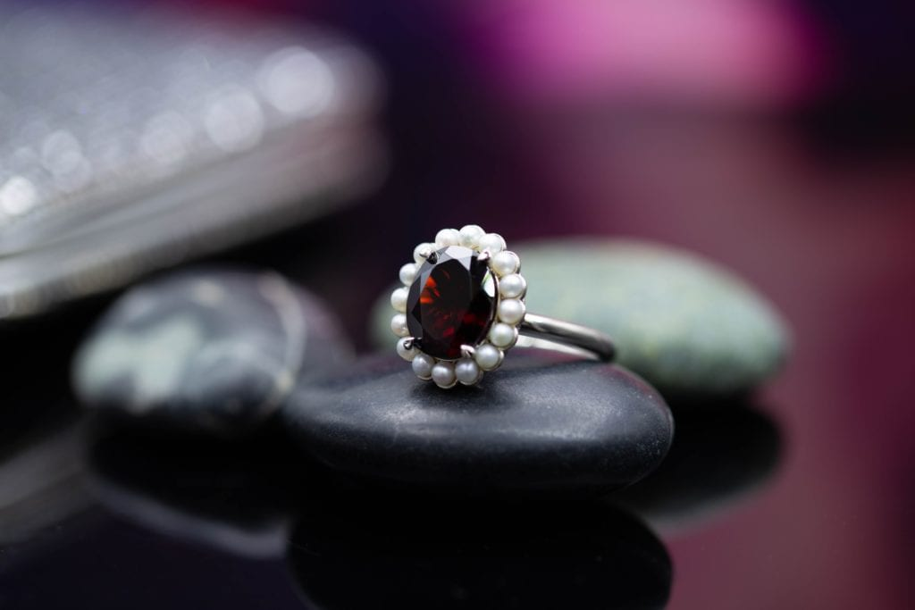 garnet and pearl ring - pearl engagement ring stones