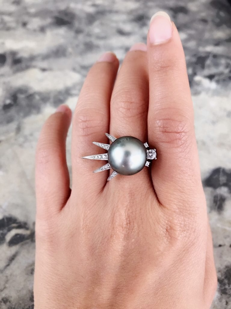 Tahitian ring - pearl engagement ring stones