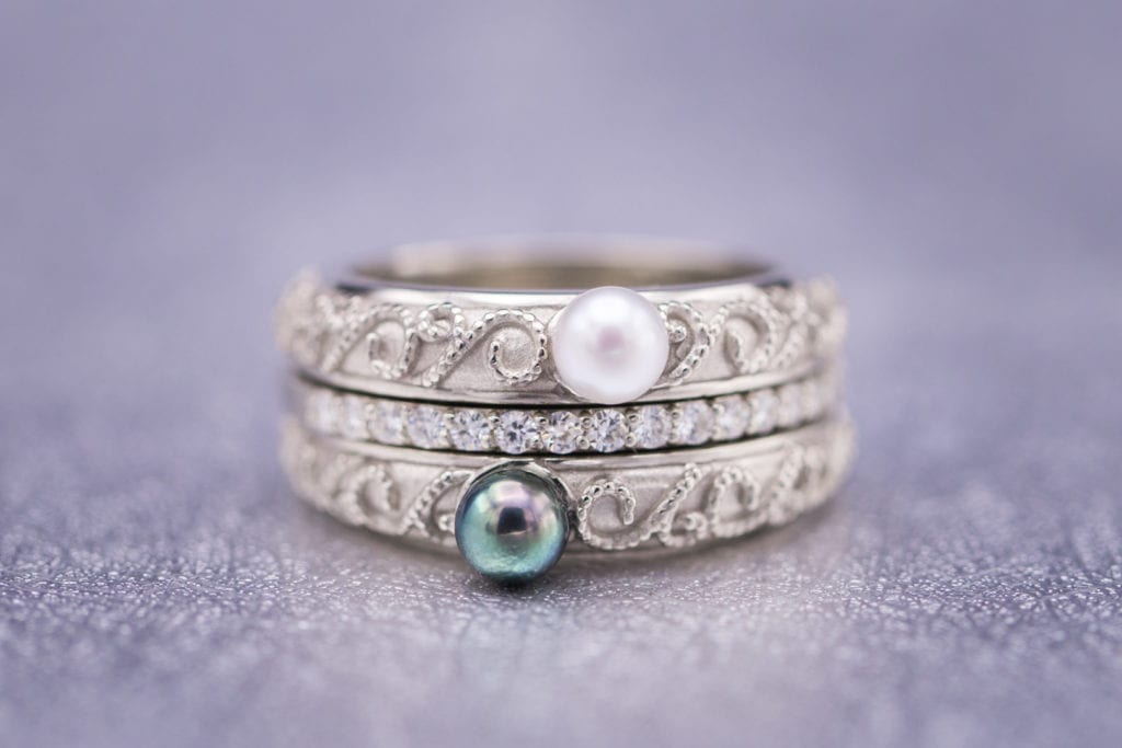 Milgrain ring with Akoya pearls - pearl engagement ring stones