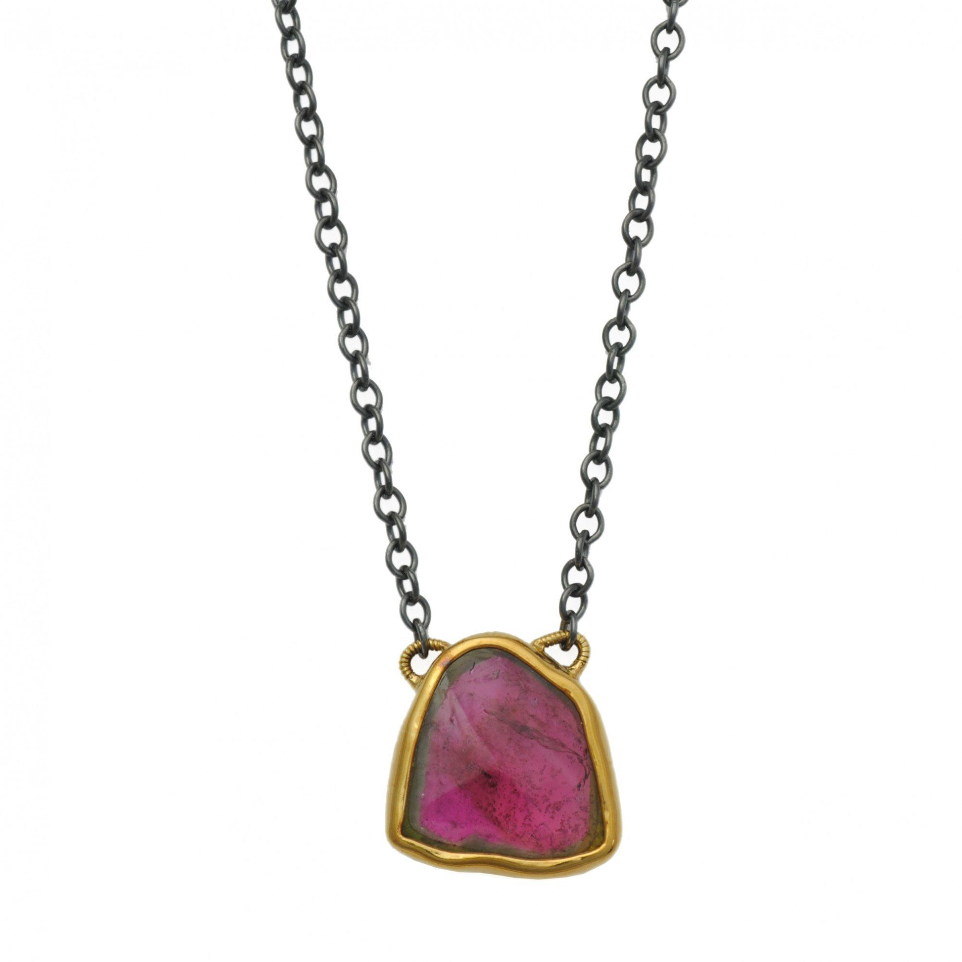 watermelon tourmaline buying guide - sugarloaf cabochon pendant